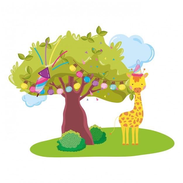 Jolie et petite girafe avec personnage de chapeau de fête Vecteur Premium