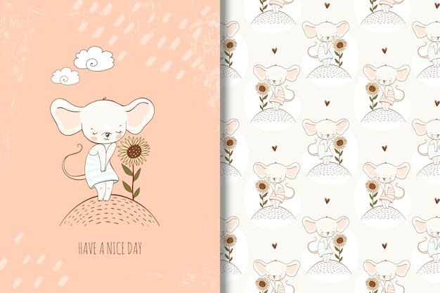 Jolie petite souris en illustration de style dessiné à la main. carte fille et modèle sans couture Vecteur Premium