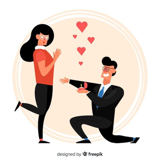 Jolie proposition de mariage avec style cartoon Vecteur gratuit