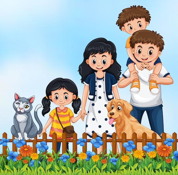 Jolie Scène De Famille En Plein Air Vecteur gratuit