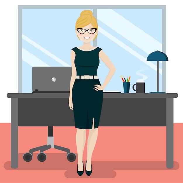 Jolie secrétaire au bureau avec ordinateur portable et café Vecteur Premium