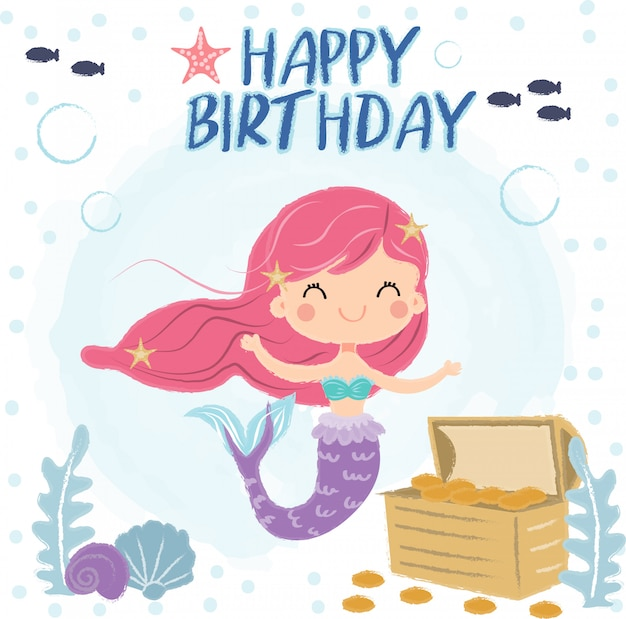 Jolie sirène sous la mer pour carte de voeux d'anniversaire Vecteur Premium