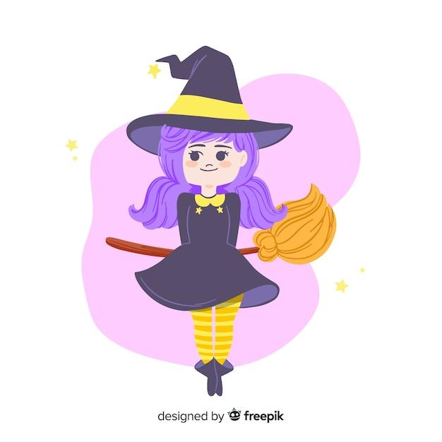 Jolie sorcière d'halloween aux cheveux pourpre et balai Vecteur gratuit