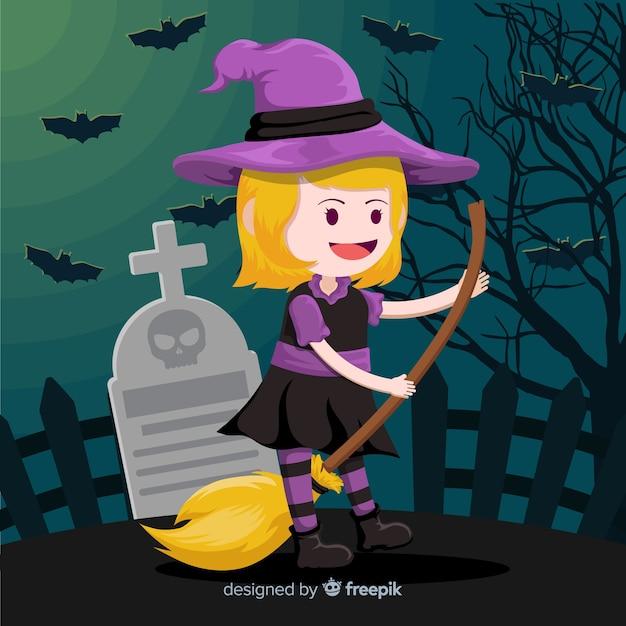 Jolie sorcière d'halloween sur balai Vecteur gratuit