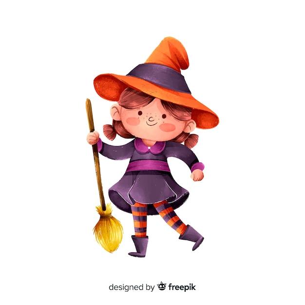 Jolie sorcière d'halloween avec balai Vecteur gratuit