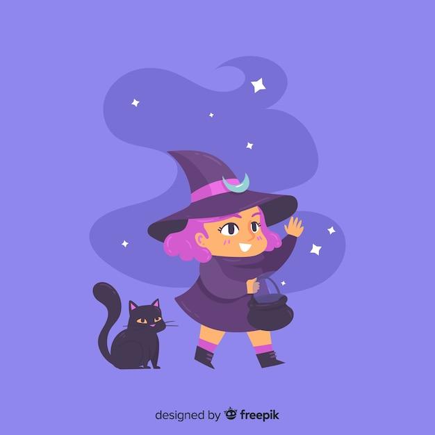 Jolie sorcière d'halloween avec un chat noir Vecteur gratuit