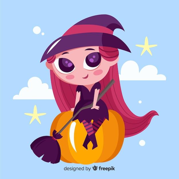 Jolie sorcière d'halloween à la citrouille Vecteur gratuit