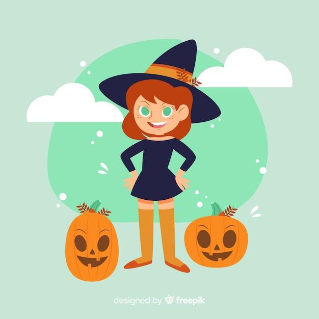 Jolie sorcière d'halloween avec citrouilles Vecteur gratuit