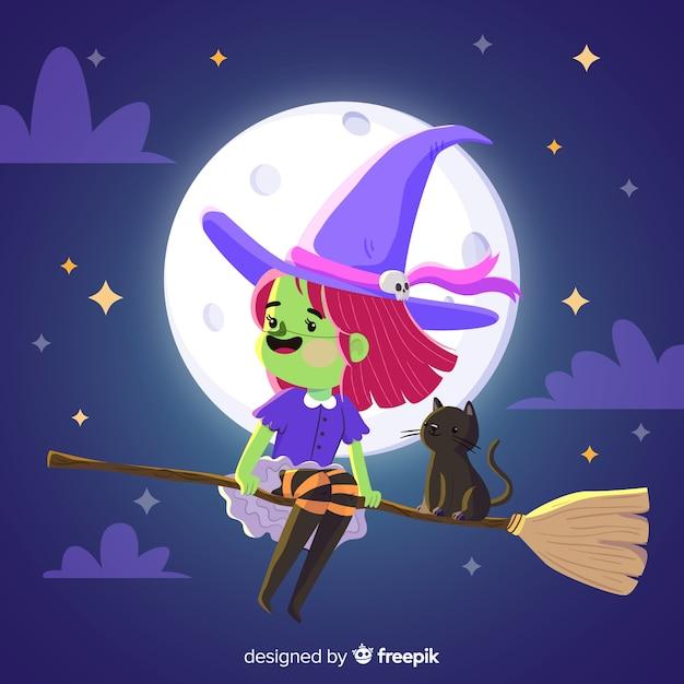 Jolie sorcière d'halloween avec des vêtements violets Vecteur gratuit