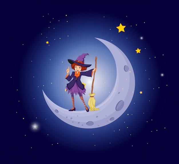 Une Jolie Sorcière Près De La Lune Vecteur gratuit