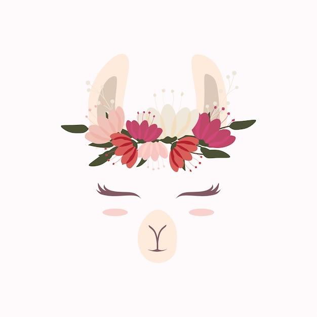 Jolie tête de lama avec belle couronne de fleurs Vecteur Premium