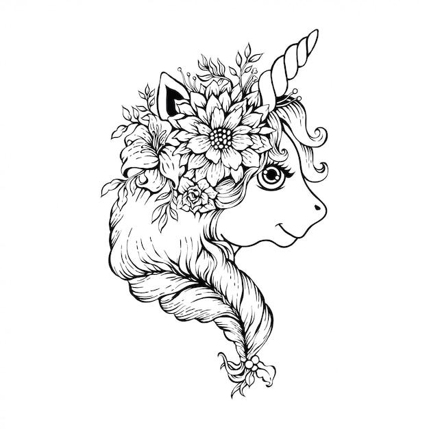 Jolie tête de licorne magique Vecteur Premium
