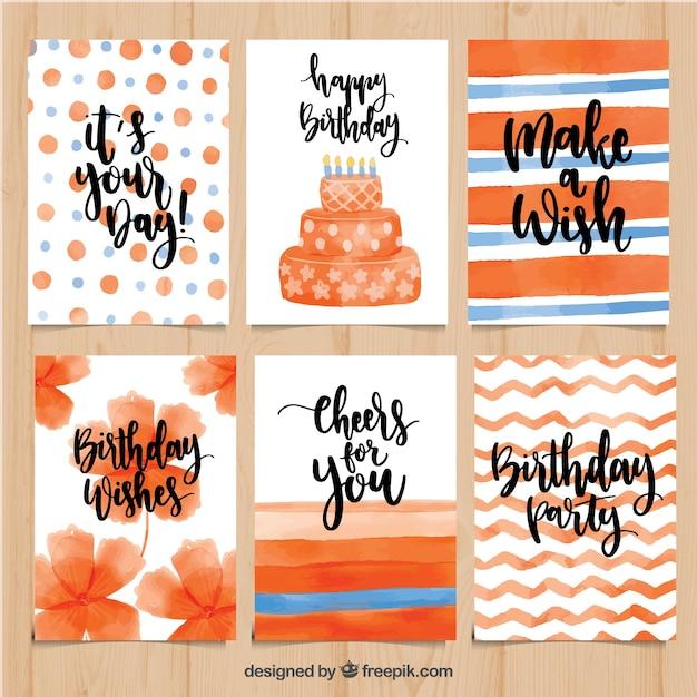 Jolies Cartes D Anniversaire D Aquarelle En Tons D Orange Vecteur Gratuite