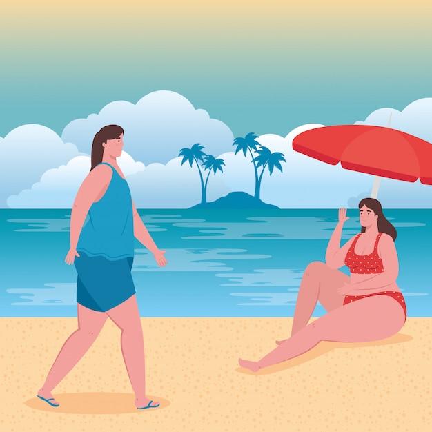 Jolies Femmes Dodues Avec Maillot De Bain Sur La Plage, Groupe D'amis Sur La Plage, Saison Des Vacances D'été Vecteur Premium
