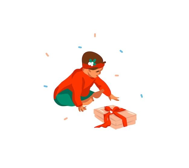 Jolies Illustrations Du Premier Bébé Fille Noël Isolé Vecteur Premium