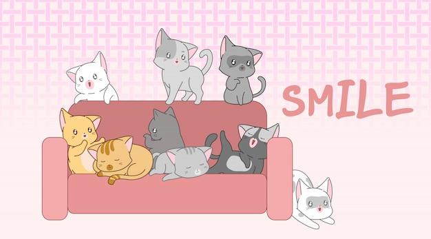 Jolis bébés chats sur le canapé. Vecteur Premium