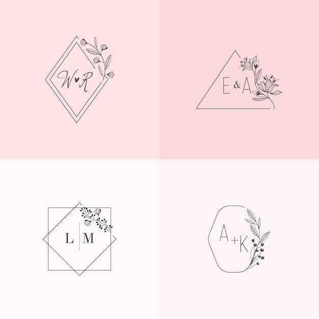 Jolis monogrammes de mariage aux couleurs pastel Vecteur gratuit