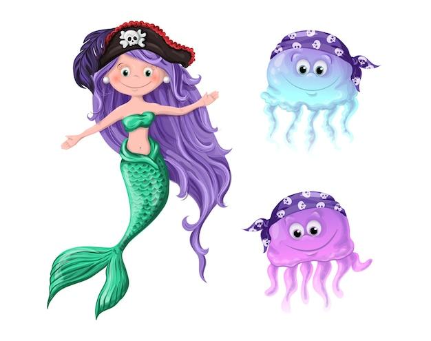 De jolis personnages une méduse de sirène dans des chapeaux de pirates. Vecteur Premium
