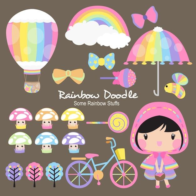 Joseph rainbow objects doodle Vecteur Premium