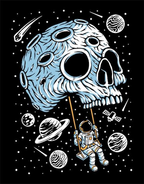 Jouer à La Balançoire Sur L'illustration De La Planète Crâne Vecteur Premium
