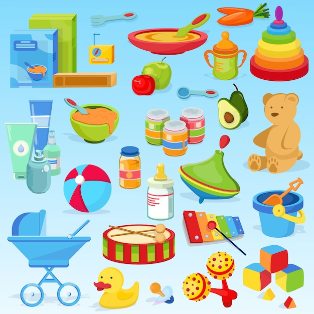 Jouet de bébé élégant, beau et mignon, chose en développement, nourriture pour bébé. porridges, purées de fruits, fruits, jouets, xylophone, pyramide colorée, tambour de jouet. Vecteur Premium