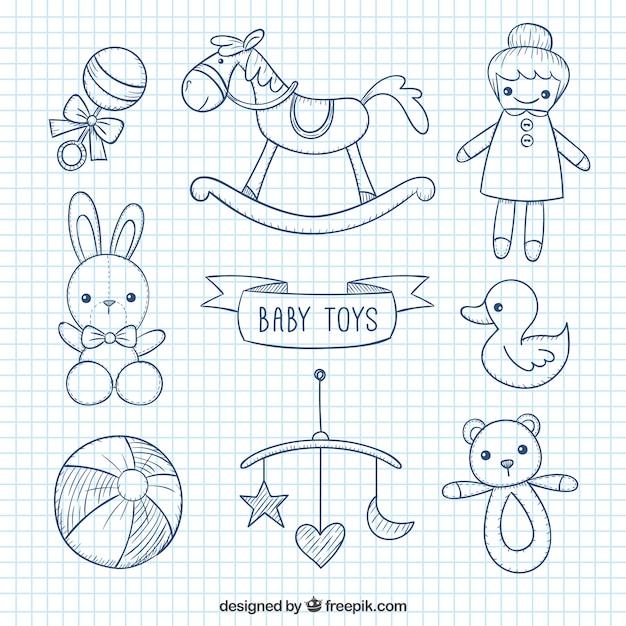 Jouets De Bébé Sketchy Vecteur Premium