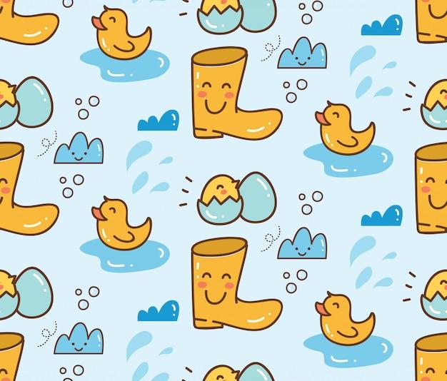 Jouets de canard mignons avec fond transparent de bottes Vecteur Premium