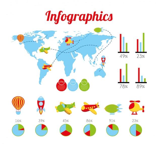 Jouets infographie sur illustration vectorielle fond blanc Vecteur Premium