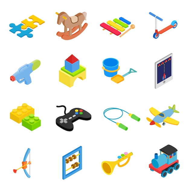Jouets isométrique 3d icônes définies Vecteur Premium