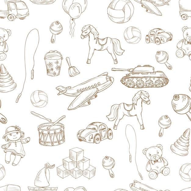 Les jouets pour enfants anciens dessinent un motif sans couture avec des blocs d'illustration vectorielle de la balle de saut à ballon. Vecteur gratuit