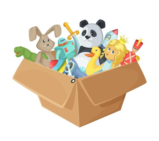 Jouets pour enfants dans une boîte en carton Vecteur Premium