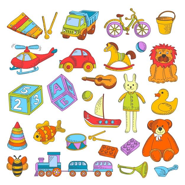 Jouets pour enfants ou jouets jouets vector collection d'icônes plat Vecteur Premium