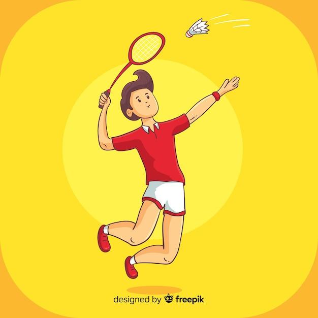 Joueur de badminton Vecteur gratuit