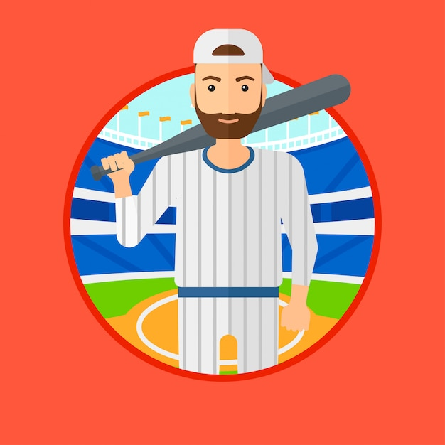 Joueur de baseball avec batte. Vecteur Premium