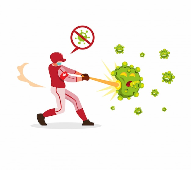 Joueur De Baseball Frappant Des Bactéries Pour Arrêter La Propagation Du Virus Corona En Vecteur Plat Dessin Animé Isolé Vecteur Premium