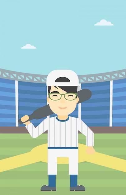 Joueur de baseball avec illustration vectorielle bat. Vecteur Premium