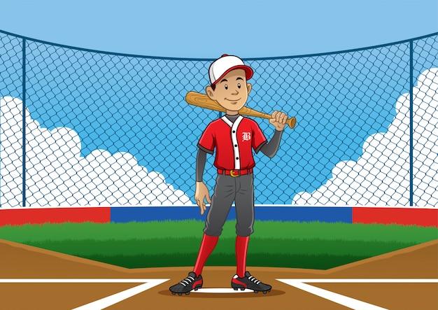 Joueur De Baseball Pose Sur Le Terrain Vecteur Premium