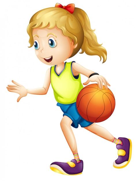Joueur de basket féminin Vecteur gratuit