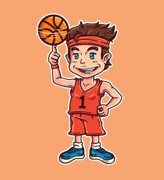 Joueur de basketball Vecteur Premium