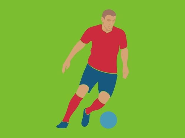 joueur de football dribble avec le ballon