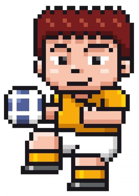 Joueur De Foot De Bande Dessinée Pixel Design