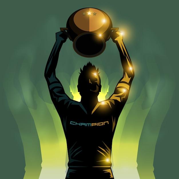 Joueur de foot et trophée Vecteur Premium