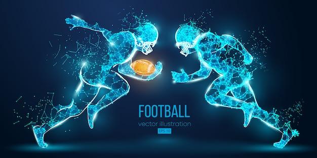 Joueur De Football Abstrait De Particules, Lignes Et Triangles Sur Fond Bleu. Le Rugby. Footballeur Américain. Tous Les éléments Sur Des Calques Séparés, La Couleur Peut être Changée En N'importe Quel Autre En Un Seul Clic. Vecteur Vecteur Premium