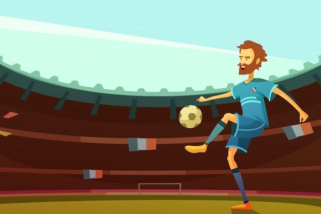 Joueur De Football Avec Ballon Sur Le Stade Avec Les Drapeaux De La France Sur Fond Illustration Vectorielle Vecteur gratuit