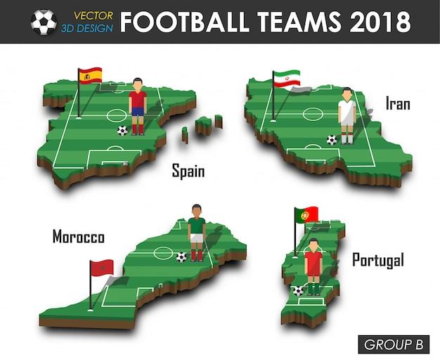 Joueur De Football Et Drapeau Sur La Carte De Pays De Conception 3d. Vecteur Premium