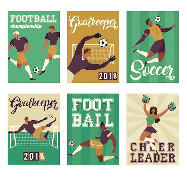 Joueur de football de football mis des affiches de caractères Vecteur Premium