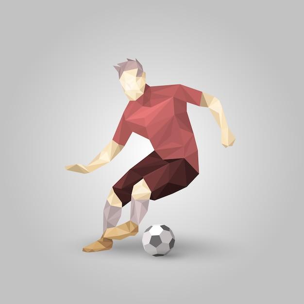 Joueur de football géométrique Vecteur Premium