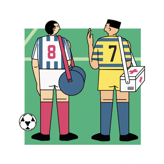 Joueur de football sur l'illustration vectorielle de terrain Vecteur Premium