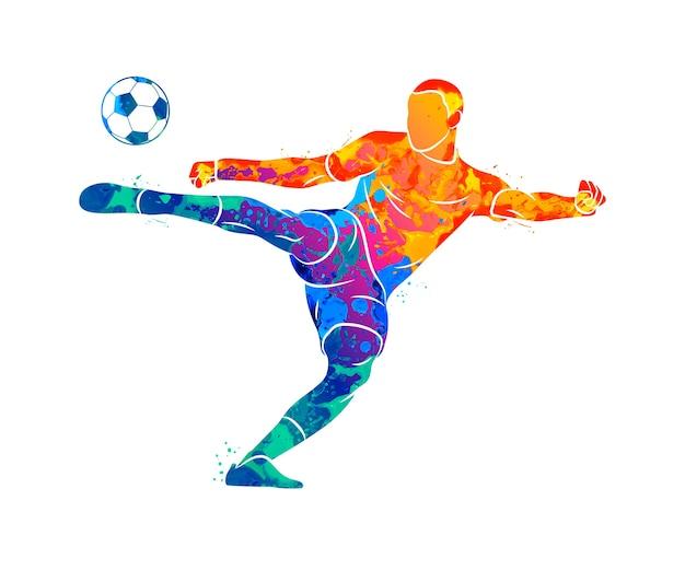 Joueur De Football Professionnel Abstrait Tirant Rapidement Une Balle D'éclaboussure D'aquarelles. Illustration De Peintures Vecteur Premium