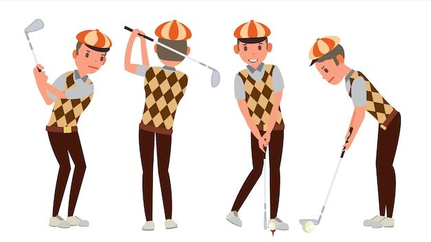 Joueur de golf classique Vecteur Premium